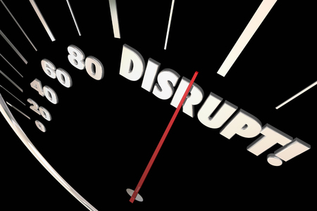 Disrupt Speedometer Change Innovate Evolve 3d Illustration Archivio Fotografico