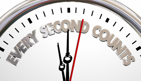 Every Second Counts Clock Precious Time Saying 3d Illustration Stock Photo