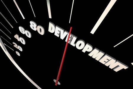 evolved: Development Programming Process System Progress Speedometer 3d Illustration