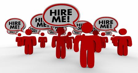 Engagez-moi Job Discours candidats Interview Bubble Personnes 3d Illustration
