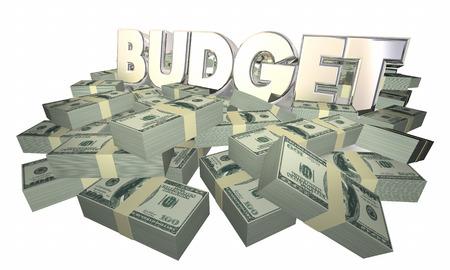 cash money: Budget Money Finances Cash Spending Word 3d Illustration