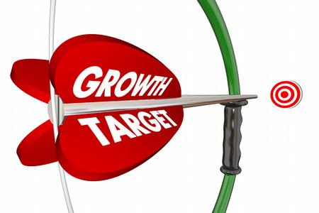 bow and arrow: Growth Target Bow Arrow Increase Improve 3d Illustration