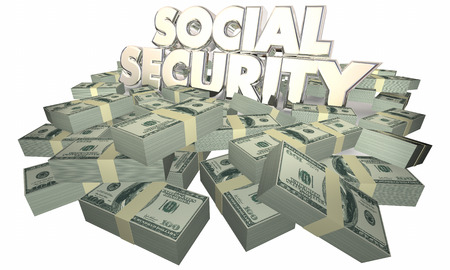 retirement savings: Social Security Cash Money Retirement Savings 3d Illustration Stock Photo
