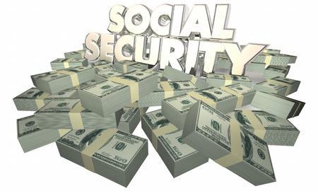 stockpile: Social Security Cash Money Retirement Savings 3d Illustration Stock Photo