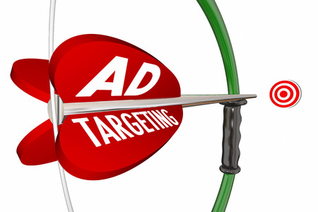 arco y flecha: Orientaci�n de los anuncios de la campa�a de publicidad del arco Flecha 3d ilustraci�n Foto de archivo