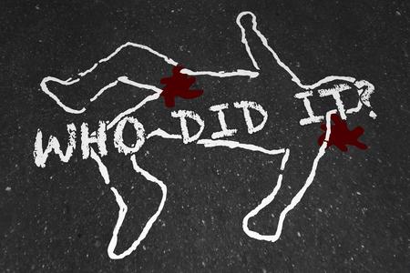 crime: Who Did It Murder Crime Scene Suspect Chalk Outline Illustration