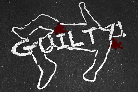 verdicts: Guilty Crime Suspect Dead Body Murder Chalk Outline Illustration Stock Photo