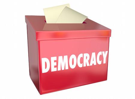 민주주의 자유 선택 투표 투표 용지 상자 3D 그림