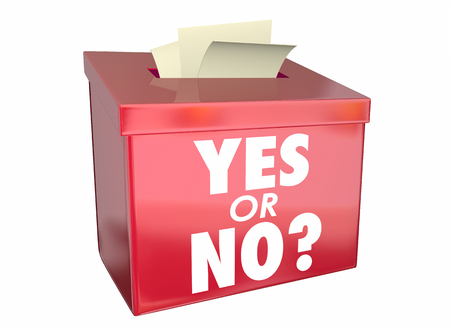 affirmative: Yes or No Answer Box Vote Ballot Opinion Words 3d Illustration