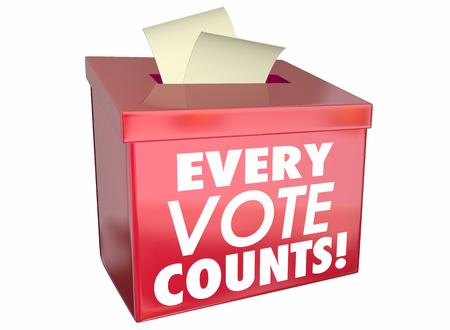 Cada voto cuenta Materia Urna 3d ilustración