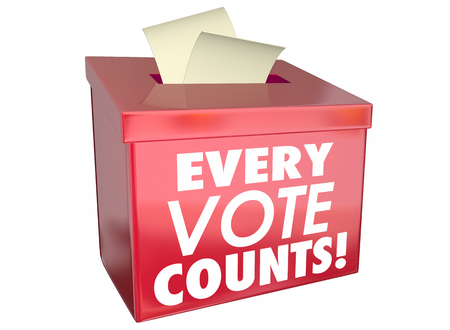 Every Vote Counts Matters Ballot Box 3d Illustration