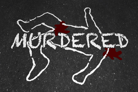 Murdered Killed Dead Body Chalk Outline Victim Illustration Reklamní fotografie - 61193611