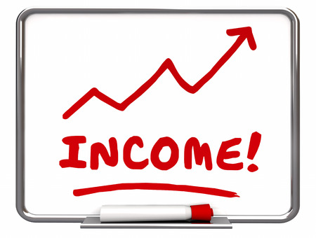 going up: Income Rising Chart Arrow Going Up Red Word 3d Illustration