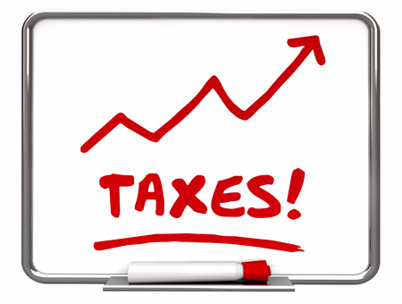 dry erase board: Taxes Rising Arrow Up IRS More Taxation 3d Illustration