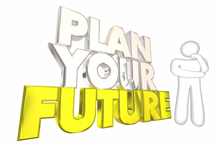 pensador: Planificar su futuro Lograr sue�os de la vida del pensador Ilustraci�n 3d