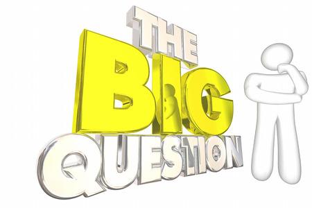 pensador: La gran pregunta Problema Problema misterio Resolver pensador Ilustración 3d