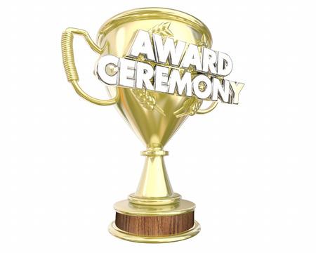award ceremony: Award Ceremony Trophy Presentation Show Appreciation 3d Illustration Stock Photo