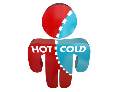 hot cold: Hot Cold Person Percent Different Answers Temperature Survey 3d Illustration