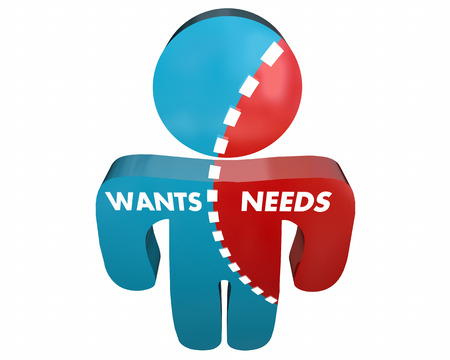 conflicted: Wants Vs Needs Person Desires Demands Survey 3d Illustration Stock Photo