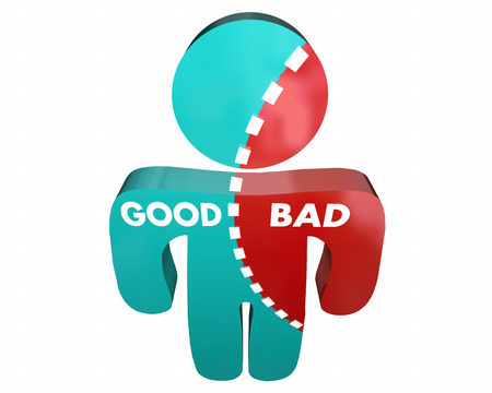 conflicted: Good Vs Bad Person Percent Character Integrity 3d Illustration Stock Photo
