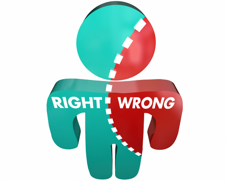 conflicted: Right Or Wrong Truth False Honesty Lies Person 3d Illustration
