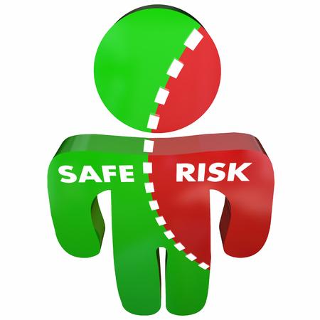 población: Encuesta persona segura Vs riesgos de seguridad Peligro Ilustración 3d