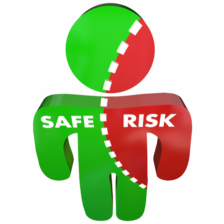 conflicted: Safe Vs Risk Security Danger Person Survey 3d Illustration Stock Photo