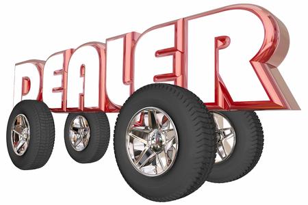 travelling salesman: Dealer Car Truck Seller Sales Wheels Word 3d Illustration