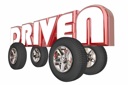driven: Driven Word Car Truck Transportation Wheels 3d Illustration Stock Photo