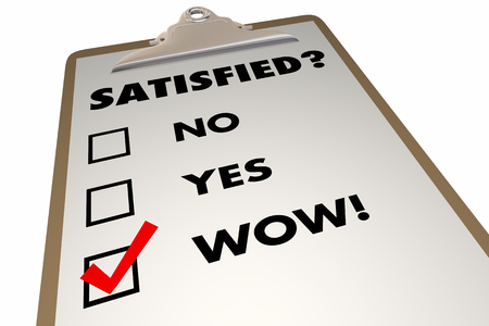 happy customer: Satisfied Customer Satisfaction Index Survey Checklist 3d Illustration