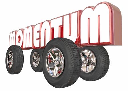 speedy: Momentum On Roll Good Progress Wheels Word 3d Illustration