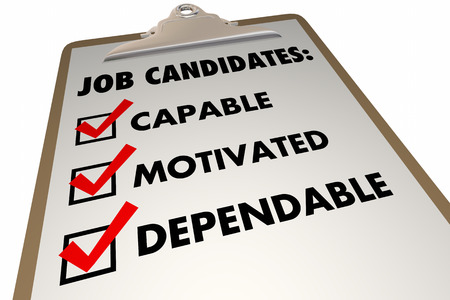 candidates: Job Candidates Qualities Requirements Interview Checklist 3d Illustration