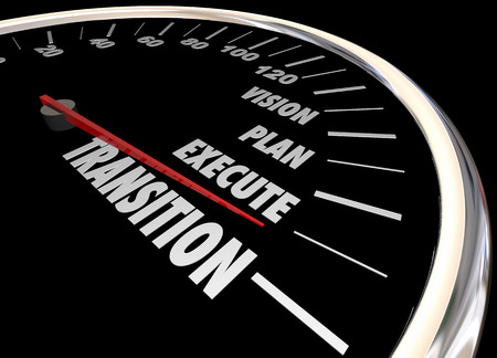 execution: Transition Vision Planning Execution Speedometer 3d Illustration