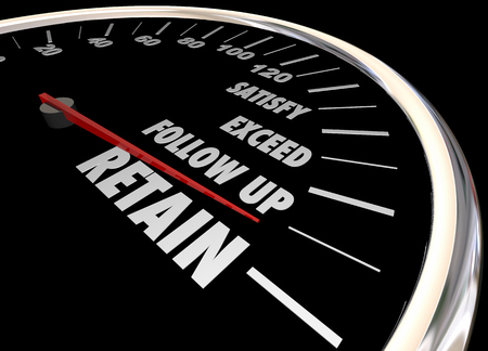 expectations: Increase Retention Meet Needs Exceed Expectations Speedometer 3d Illustration Stock Photo