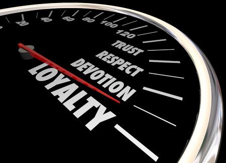 allegiance: Loyalty Customer Employee Trust Respect Speedometer 3d Illustration