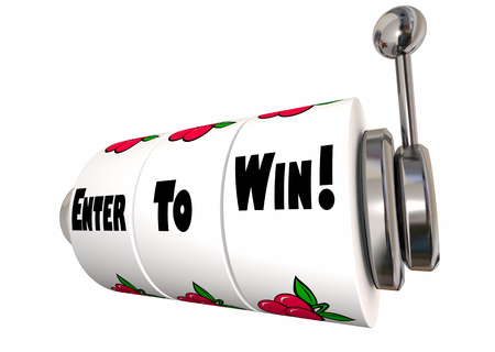 Enter to Win Big Contest Jackpot Slot Machine Wheels 3d Illustration Stock Photo