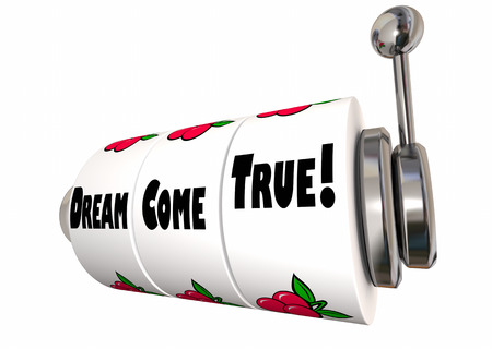 Dream Come True Wish Fulfillment Hopes Desires Slot Machine 3d Illustration