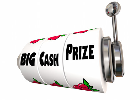 Big Cash Prize Lottery Jackpot Winnings Slot Machine 3d Illustration Stock Photo