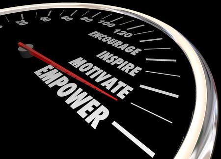 inspire: Empower Encourage Motivate Inspire Speedometer 3d Illustration