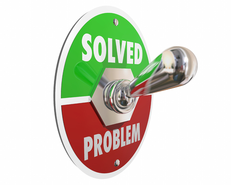 toggle switch: Problem Solution Solved Switch On Fix Repair 3d Illustration