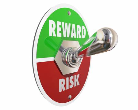 decide deciding: Risk Vs Reward Return on Investment Switch 3d Illustration