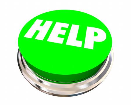 help button: Help Button Get Assistance Support Service Word 3d Illustration