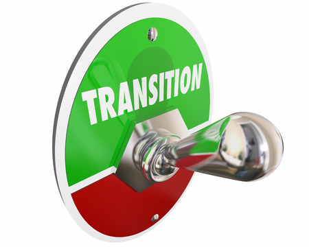 Transition Switch Turn On Change Word 3d Illustration 스톡 콘텐츠