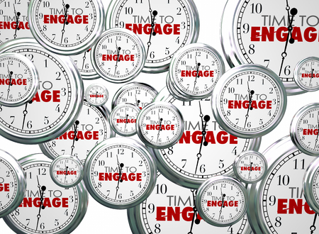 Time to Engage Clocks Interact Doe mee 3d Illustratie Stockfoto