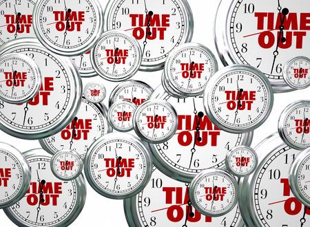 時計を飛行時間を休憩一時停止休憩言葉 3 d イラストレーション 写真素材