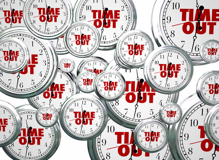 break out: Time Out Break Pause Intermission Flying Clocks Words 3d Illustration