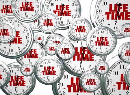 Lifetime Span Live Expectancy Clocks Flying 3d Illustration 版權商用圖片