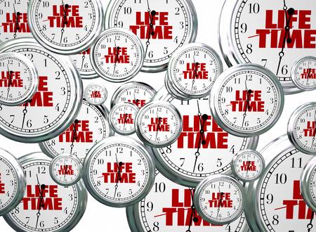 lifespan: Lifetime Span Live Expectancy Clocks Flying 3d Illustration Stock Photo