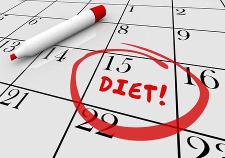begin: Diet Start Begin Eat Healthy Lose Weight Calendar 3d Illustration