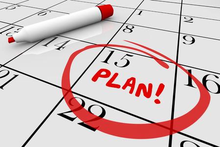 coordinacion: Plan de Estrategia de inicio Begin Misión Día Calendario Fecha 3d ilustración Foto de archivo
